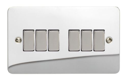 Varilight XFC96D Ultraflat Polished Chrome 6 Gang 10A 1 or 2 Way Rocker Light Switch